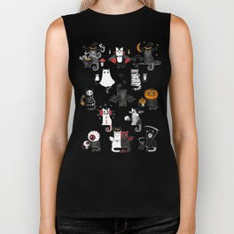 Halloween Cats In Terrible Imagery Biker Tank