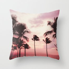 Tropical Palm Tree Pink Sunset Throw Pillow
