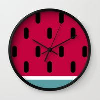 watermelon Wall Clocks featuring Watermelon by According to Panda
