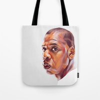 jay z Tote Bags featuring JAY-Z by nachodraws