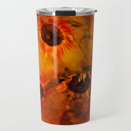 Autumn Playful Sunflowers Travel Mug