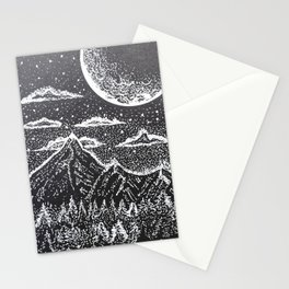 """""""Supermoon"""" Hand-Drawn by Dark Mountain Arts Stationery Cards"""