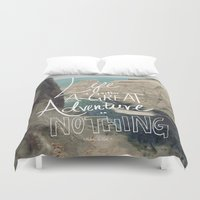 lettering Duvet Covers featuring Great Adventure by Leah Flores