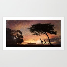 Purple Safari Sunset- giraffe family Art Print