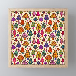 Smiley Mushrooms Print in Cream Framed Mini Art Print