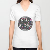 numbers V-neck T-shirts featuring Numbers! grey by gasponce