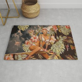 Swimming in the jungle Rug