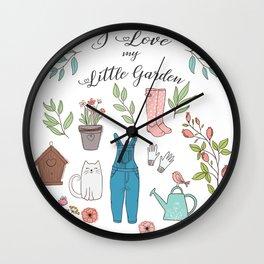 Cute garden set illustration. Wall Clock