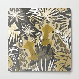 Giraffes in the night forest. Metal Print
