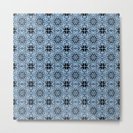 Airy Blue Star Geometric Metal Print
