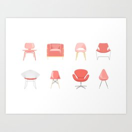 Set of Midcentury Modern Chairs in Living Coral Art Print