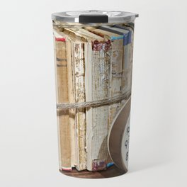 Old books on shelf and alarm clock Travel Mug