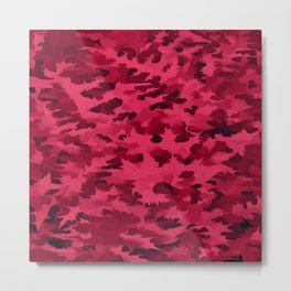 Foliage Abstract Pop Art Blush Red Metal Print