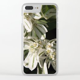 Green and White Flowers Clear iPhone Case