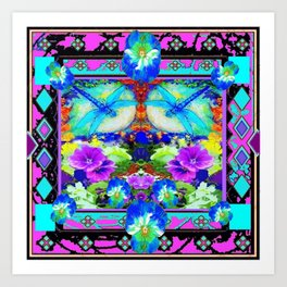 Baby Blue Dragonflies & Pansy Purple Abstract Art Print
