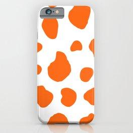 Cow Print Background Orange Color iPhone Case