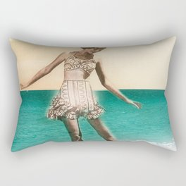 Vintage Beah Girl Rectangular Pillow
