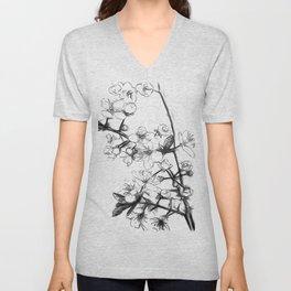 Cherry Blossoms Minimal Drawing Unisex V-Neck