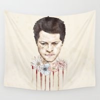 castiel Wall Tapestries featuring Castiel by mycolour