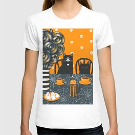 Halloween French Press Coffee Cats T-shirt