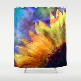Sunflower Flower Floral on colorful watercolor texture Shower Curtain