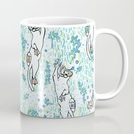 Cute Aqua Cartoon Diving Cats Vector Pattern Coffee Mug