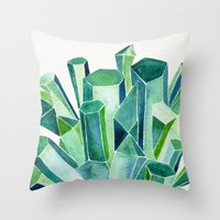 emerald Throw Pillows featuring Emerald Watercolor by Cat Coquillette