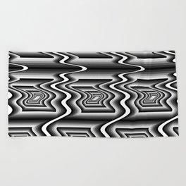 Grey Optical Pattern Beach Towel