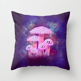 Pink Glowing Mushrooms Throw Pillow