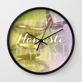 Namaste Meditation Stones & Butterfly Typography Wall Clock