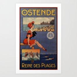 1900 Ostend beach bathing beauty Art Print