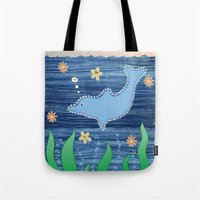 dolphin Tote Bags featuring Dolphin by Danielle Waterworth
