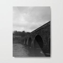 Inistioge Bridge, Ireland Black & White Metal Print