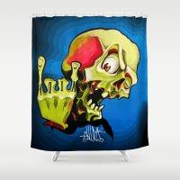 rock n roll Shower Curtains featuring Rock n' Roll Skull by Vida Graffiti
