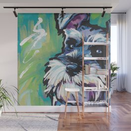 Fun Schnauzer Dog Portrait bright colorful Pop Art Painting by LEA Wall Mural