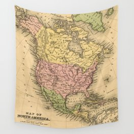 1867 Map of North America Wall Tapestry