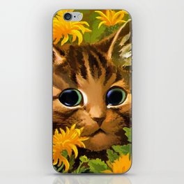 "Louis Wain's Cats ""Tabby in the Marigolds"" iPhone Skin"