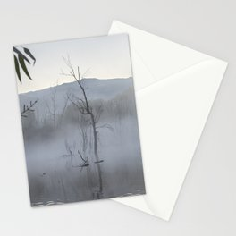 """""""Dream trees"""". Foggy sunrise at the lagoon Stationery Cards"""