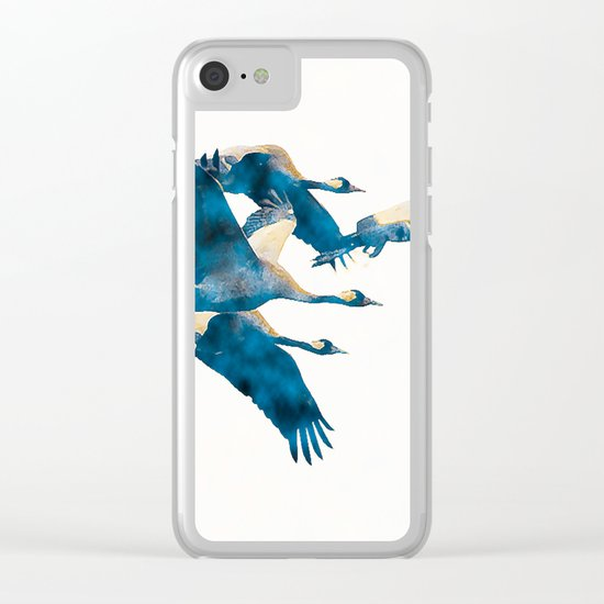 Beautiful Cranes in white background Clear iPhone Case