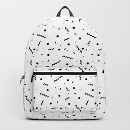 80s Black and White Confetti Pattern Backpack