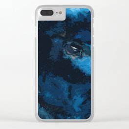 Blue and black bird ink painting Clear iPhone Case