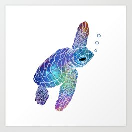 Colorful Sea Turtle II Art Print