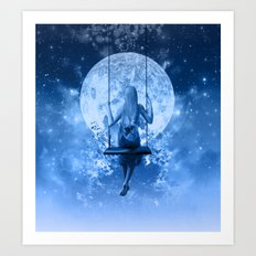 night in blue Art Print