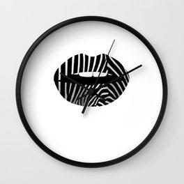 Zebra Pattern Lips Zebra Stripes Fur Print Animal Print Wall Clock