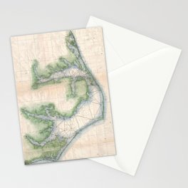 Vintage Map of The North Carolina Coast (1875) Stationery Cards