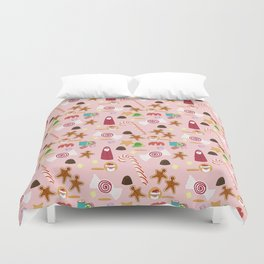Christmas Sweeties Candies, Peppermints, Candy Canes and Chocolates on Pink Duvet Cover