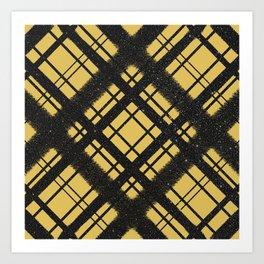 Black Glitter Plaid on Golden Yellow Graphic Design Pattern Art Print