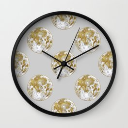 Golden Moon Pattern Wall Clock