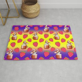 Cute little happy funny little baby Corgi puppies sitting in espresso coffee cups, yummy red ripe sweet summer strawberries bright yellow, purple, red fruity pattern design. Rug