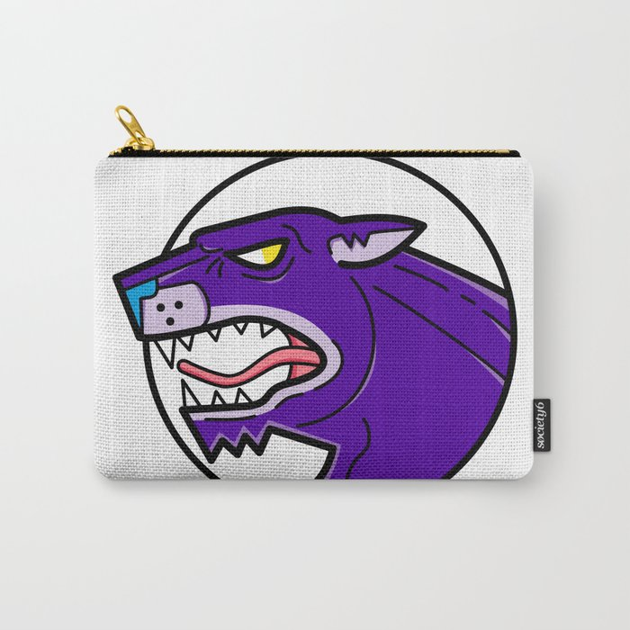 Black Jaguar Growl: Black Panther Growling Mono Line Carry-All Pouch By